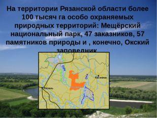 На территории Рязанской области более 100 тысяч га особо охраняемых природных