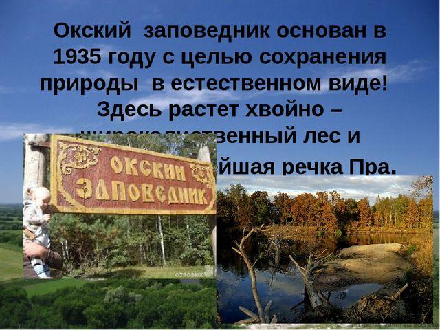 Окский заповедник основан в 1935 году с целью сохранения природы в естественн...