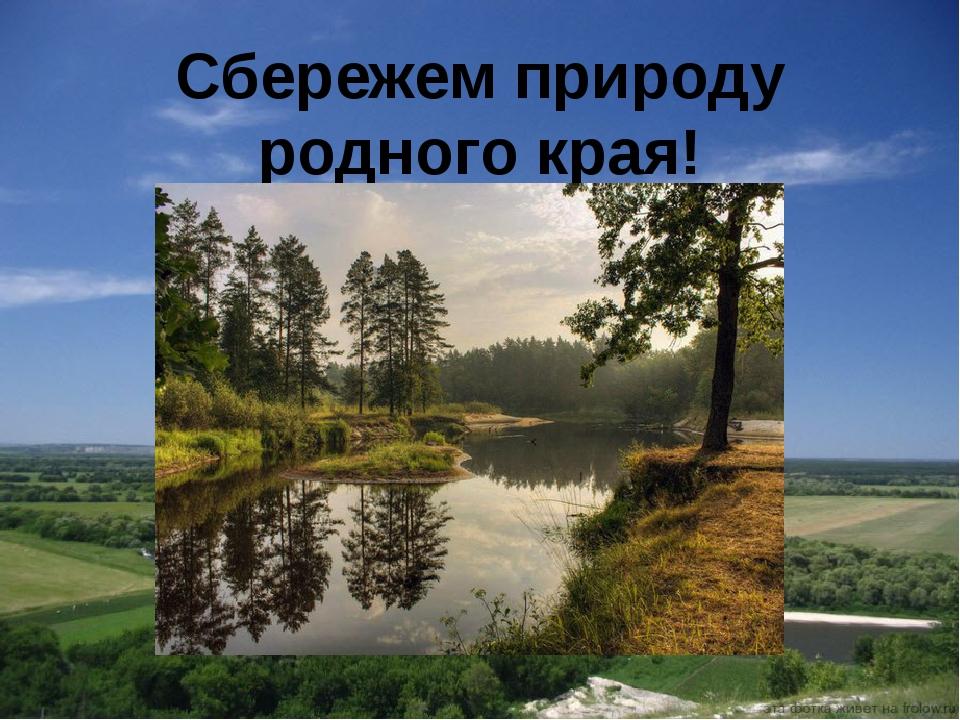Сбережем природу родного края!