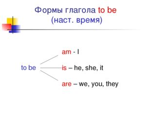 Формы глагола to be (наст. время) to be am - I is – he, she, it	 are – we, yo