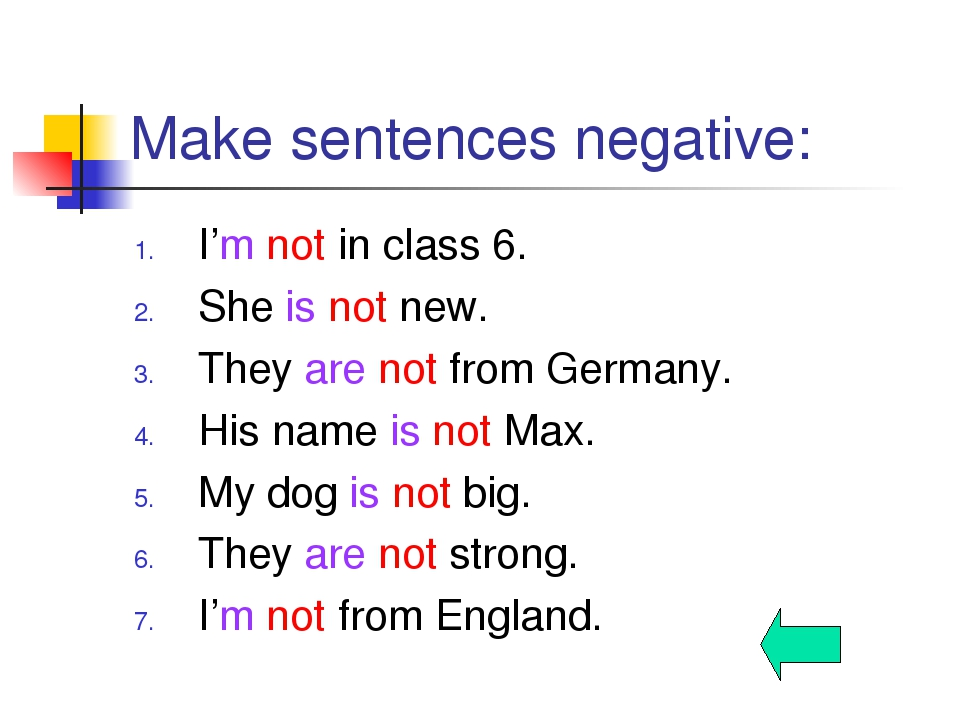 Make sentences negative: I'm not in class 6. She is not new. They are not fro...