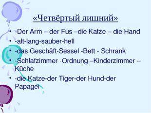 «Четвёртый лишний» -Der Arm – der Fus –die Katze – die Hand -alt-lang-sauber-