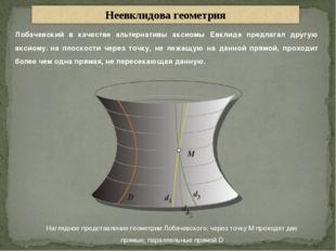Наглядное представление геометрии Лобачевского: через точку M проходят две пр