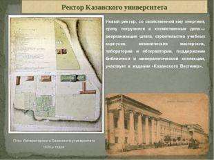 План Императорского Казанского университета 1820-х годов. Новый ректор, со св