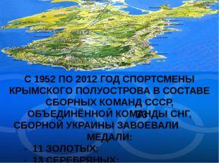 С 1952 ПО 2012 ГОД СПОРТСМЕНЫ КРЫМСКОГО ПОЛУОСТРОВА В СОСТАВЕ СБОРНЫХ КОМАНД