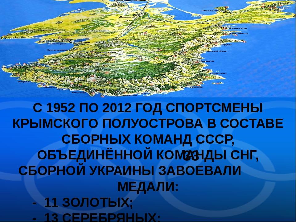 С 1952 ПО 2012 ГОД СПОРТСМЕНЫ КРЫМСКОГО ПОЛУОСТРОВА В СОСТАВЕ СБОРНЫХ КОМАНД...