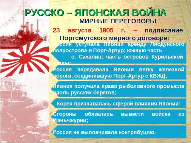 РУССКО – ЯПОНСКАЯ ВОЙНА МИРНЫЕ ПЕРЕГОВОРЫ 23 августа 1905 г. – подписание Пор...