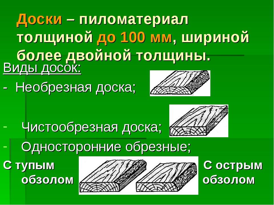 Доски – пиломатериал толщиной до 100 мм, шириной более двойной толщины. Виды...