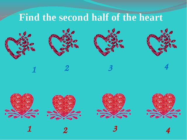Find the second half of the heart 1 2 3 4 1 2 4 3