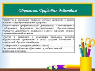 Обучение. Трудовые действия Разработка и реализация программ учебных дисципли