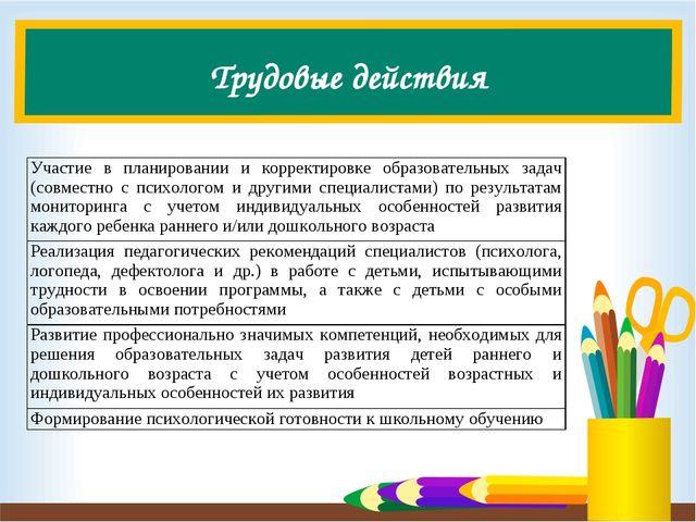 Трудовые действия Участие в планировании и корректировке образовательных зада...