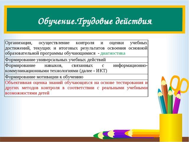 Обучение.Трудовые действия Организация, осуществление контроля и оценки учебн...
