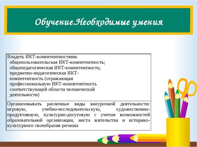 Обучение.Необходимые умения Владеть ИКТ-компетентностями: общепользовательска...