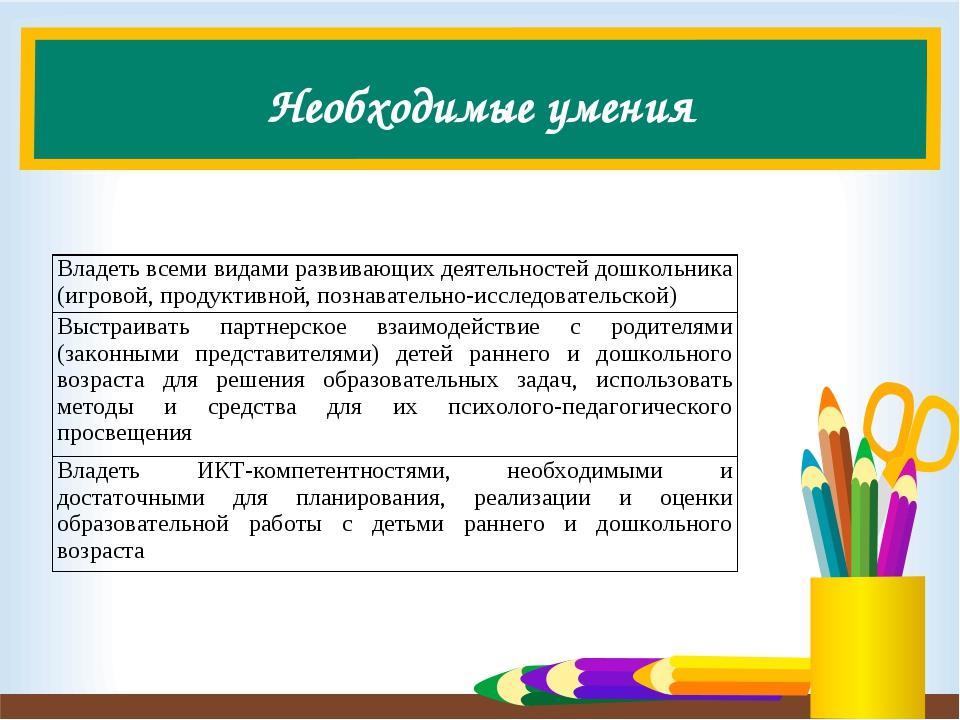 Необходимые умения Владеть всеми видами развивающих деятельностей дошкольника...