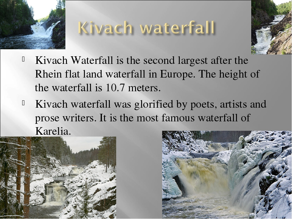 Kivach Waterfall is the second largest after the Rhein flat land waterfall in...