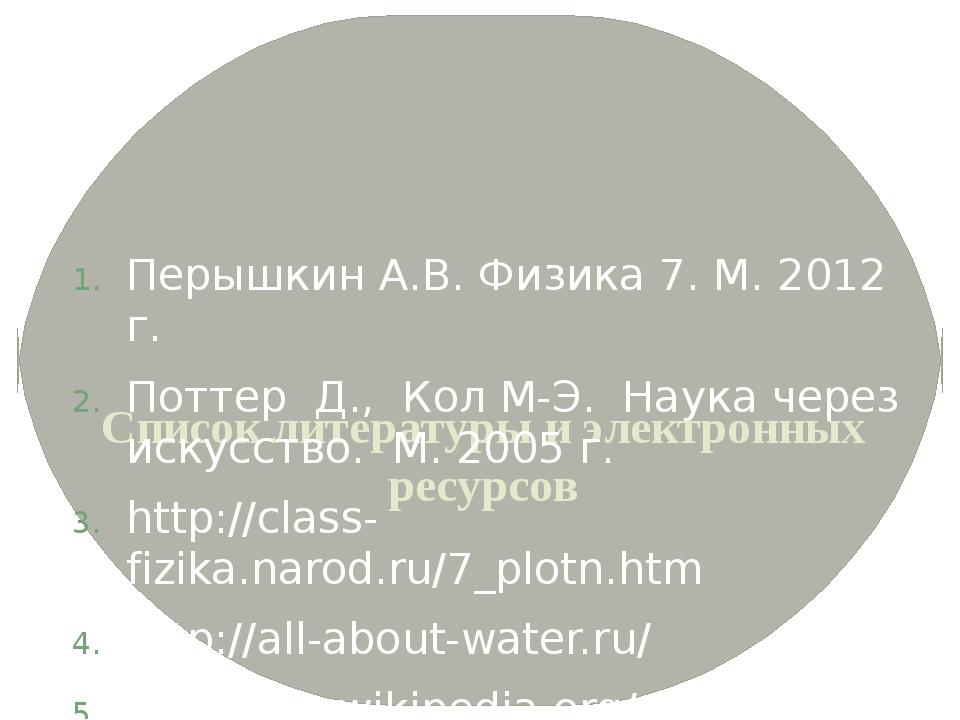 Список литературы и электронных ресурсов Перышкин А.В. Физика 7. М. 2012 г....