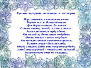 Русские народные пословицы и поговорки : Мороз невелик, а стоять не велит Бе