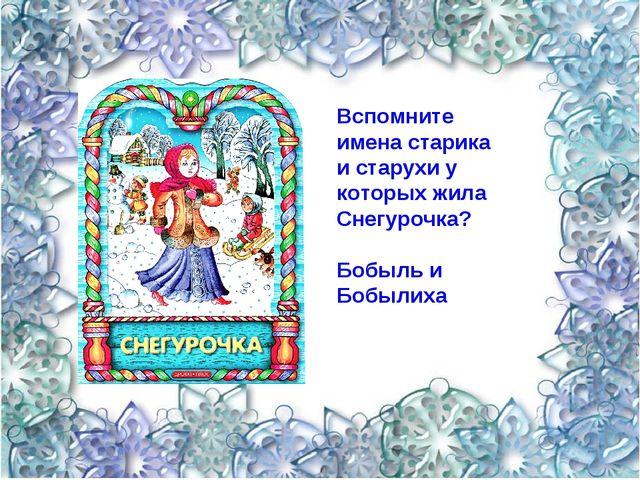 Вспомните имена старика и старухи у которых жила Снегурочка? Бобыль и Бобылиха