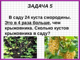 ЗАДАЧА 5 В саду 24 куста смородины. Это в 4 раза больше, чем крыжовника. Скол
