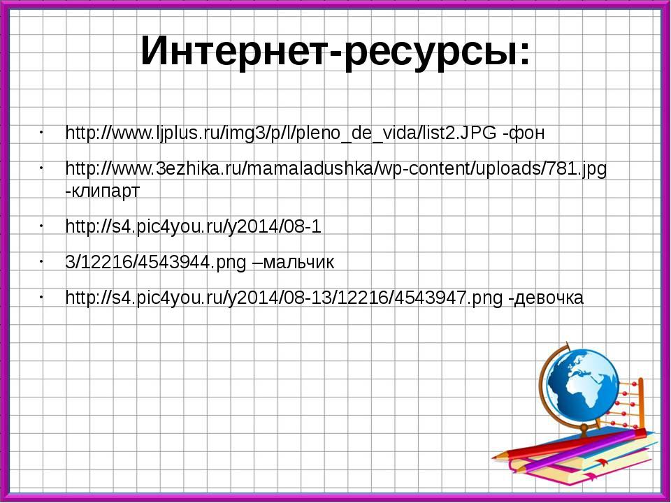 Интернет-ресурсы: http://www.ljplus.ru/img3/p/l/pleno_de_vida/list2.JPG -фон...