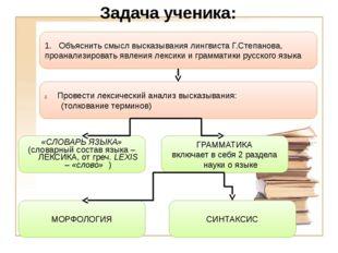 Задача ученика: 1. Объяснить смысл высказывания лингвиста Г.Степанова, проана