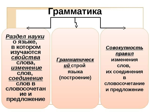 Грамматика Раздел науки о языке, в котором изучаются свойства слова, изменени...