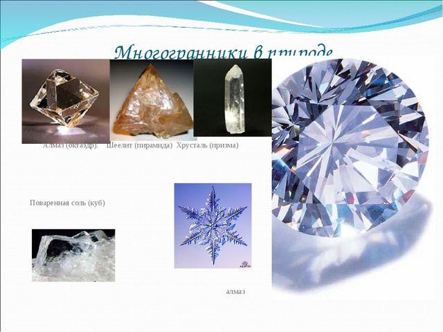 Многогранники в природе Алмаз (октаэдр). Шеелит (пирамида) Хрусталь (призма)...
