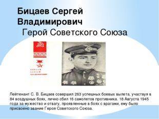 Лейтенант С. В. Бицаев совершил 263 успешных боевых вылета, участвуя в 84 воз