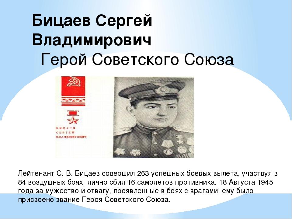 Лейтенант С. В. Бицаев совершил 263 успешных боевых вылета, участвуя в 84 воз...