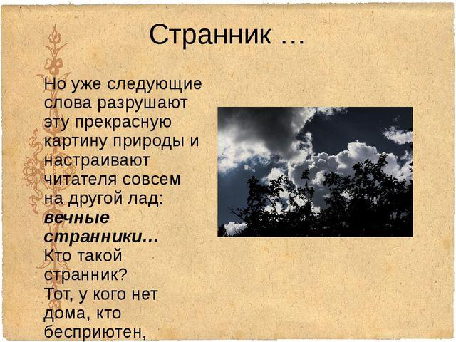 Странник … Но уже следующие слова разрушают эту прекрасную картину природы и...