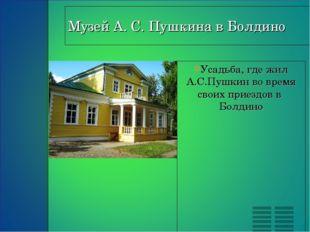 Усадьба, где жил А.С.Пушкин во время своих приездов в  Болдино Усадьба, где