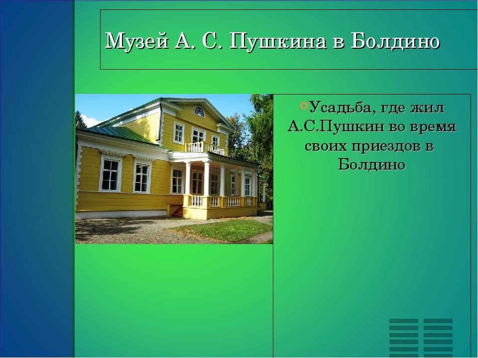 Усадьба, где жил А.С.Пушкин во время своих приездов в  Болдино Усадьба, где...