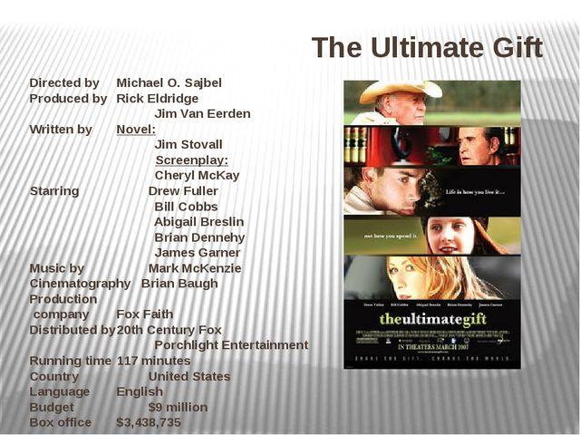 Directed byMichael O. Sajbel Produced byRick Eldridge Jim Van Eerden Writte...