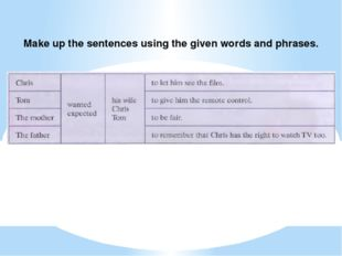 Make up the sentences using the given words and phrases.