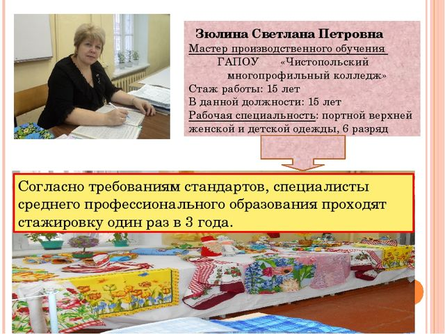 Зюлина Светлана Петровна Мастер производственного обучения ГАПОУ «Чистопольс...