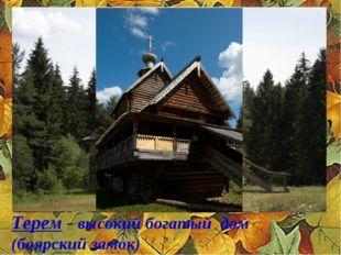 Терем - высокий богатый дом (боярский замок) ;