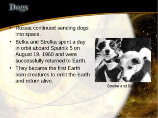 Russia continued sending dogs into space. Belka and Strelka spent a day in or