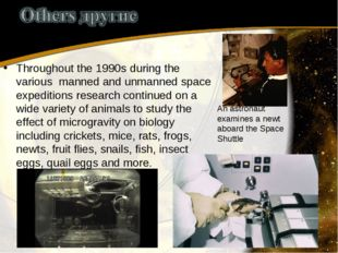 Throughout the 1990s during the various manned and unmanned space expeditions