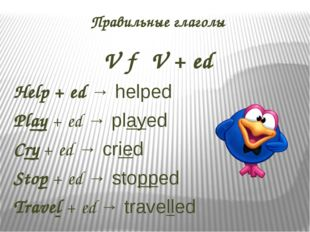Правильные глаголы V → V + ed Help + ed → helped Play + ed → played Cry + ed