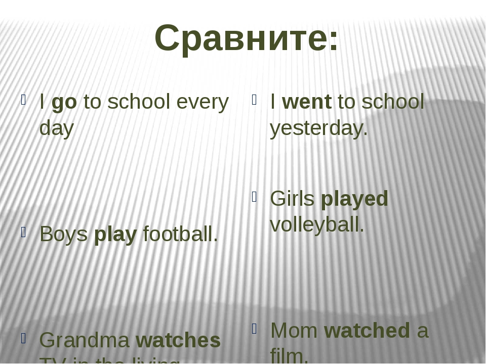 Сравните: I go to school every day Boys play football. Grandma watches TV in...