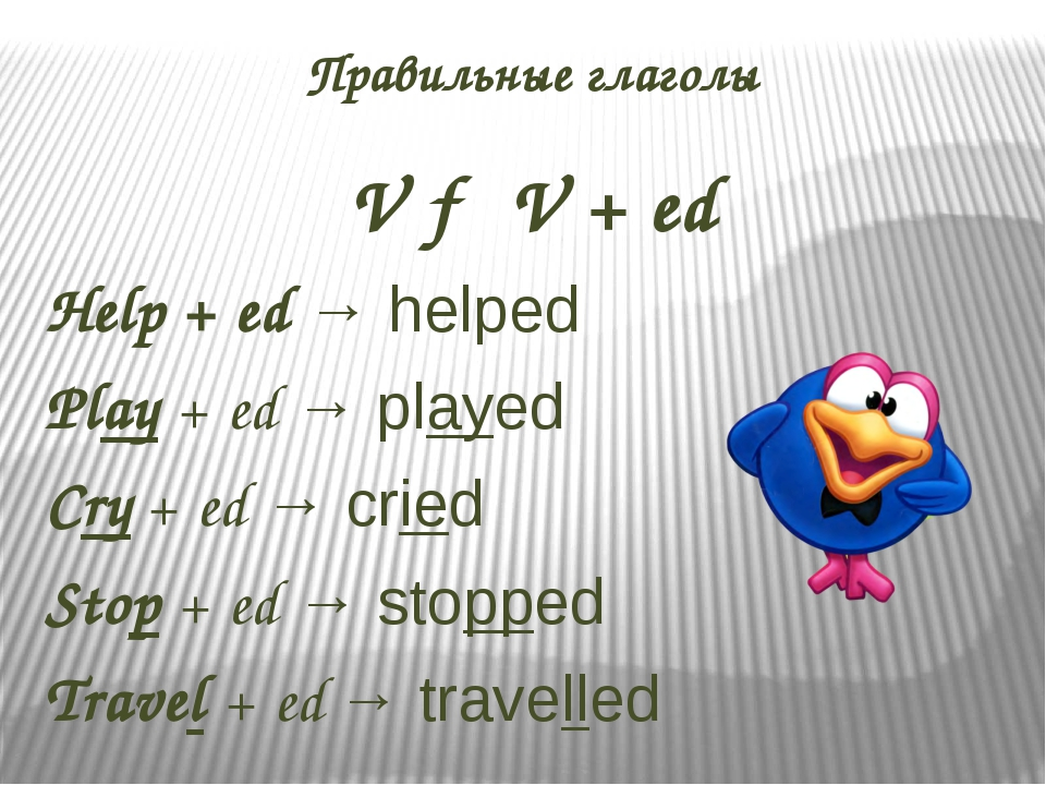 Правильные глаголы V → V + ed Help + ed → helped Play + ed → played Cry + ed...