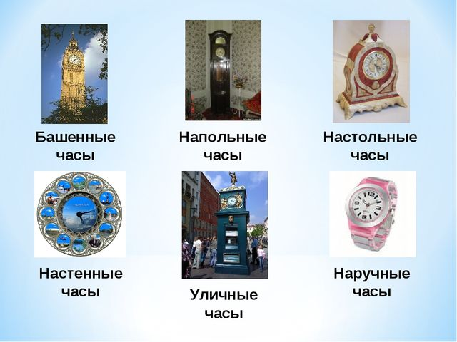Башенные часы Напольные часы Настольные часы Настенные часы Наручные часы Ули...