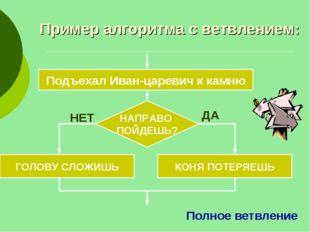 Пример алгоритма с ветвлением: Подъехал Иван-царевич к камню НАПРАВО ПОЙДЕШЬ?