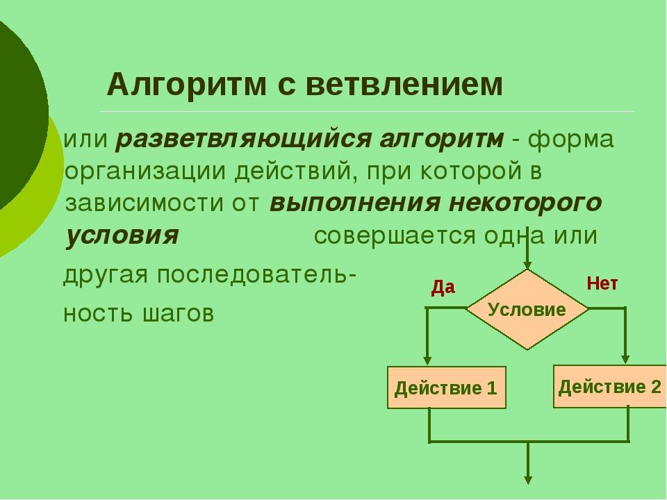 Алгоритм с ветвлением или разветвляющийся алгоритм - форма организации действ...