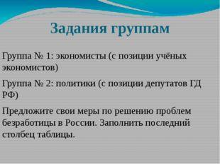 Задания группам  Группа № 1: экономисты (с позиции учёных экономистов) Групп