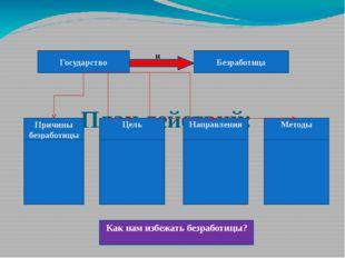 План действий: Государство Безработица Методы Причины безработицы Цель Напра