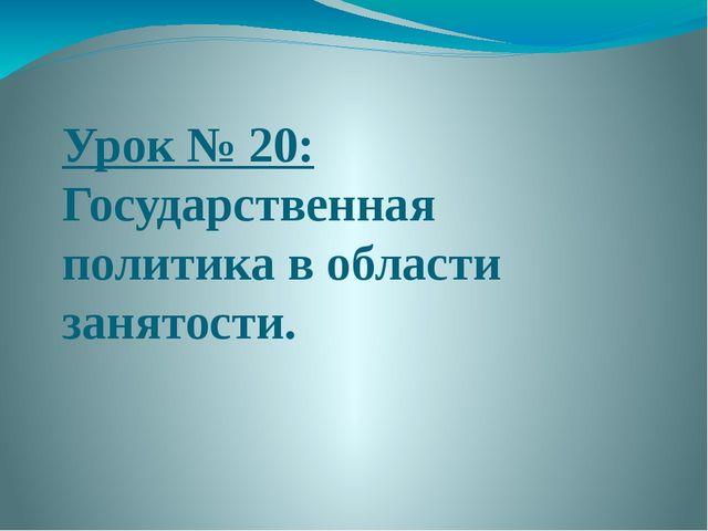 Урок № 20: Государственная политика в области занятости.