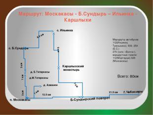 Маршрут: Москакасы - Б.Сундырь – Ильинка - Каршлыхи г.Чебоксары п. Москакасы