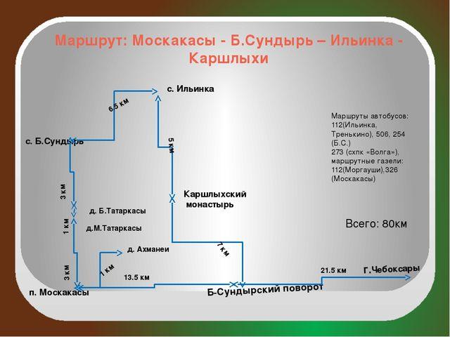 Маршрут: Москакасы - Б.Сундырь – Ильинка - Каршлыхи г.Чебоксары п. Москакасы...