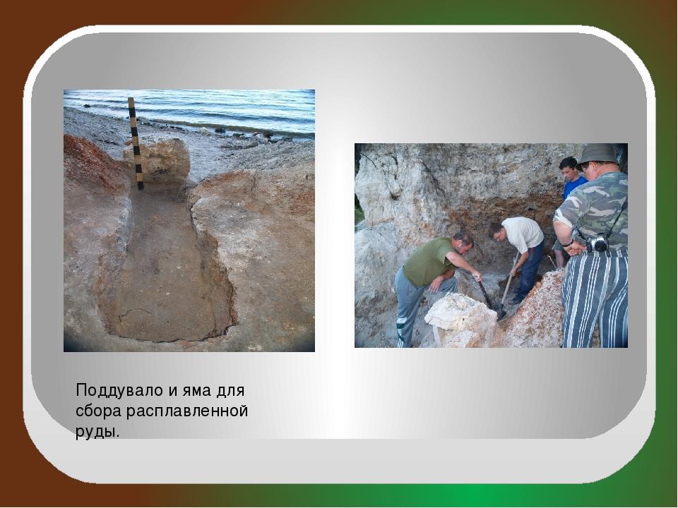 Поддувало и яма для сбора расплавленной руды.